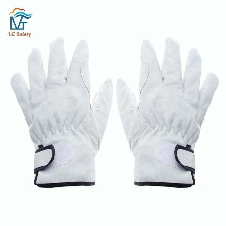 Mens Pigskin Leather Bus Car Driving Security Gloves for Truck Driver
