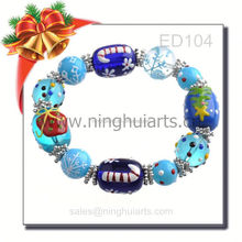 Christmas glass bead bracelet agarwood bead bracelet