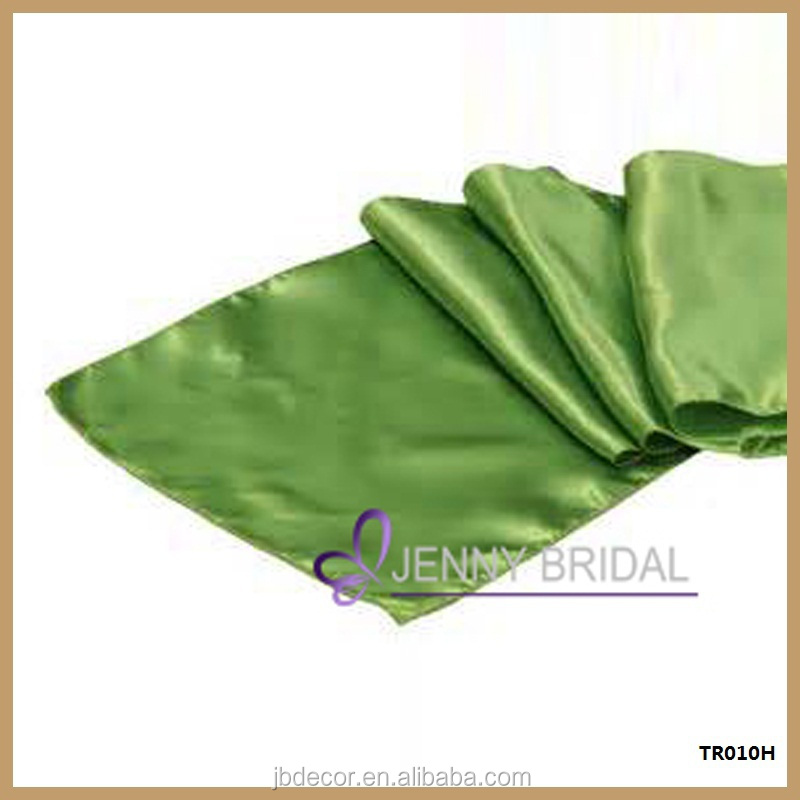 TR010H elegant green satin banquet party table runner sizes 30*274cm