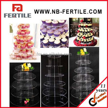 2015 new 3/5/7 tier Clear Round Acrylic eiffel tower cupcake stand/acrylic cake stand Birthday Wedding Party Display