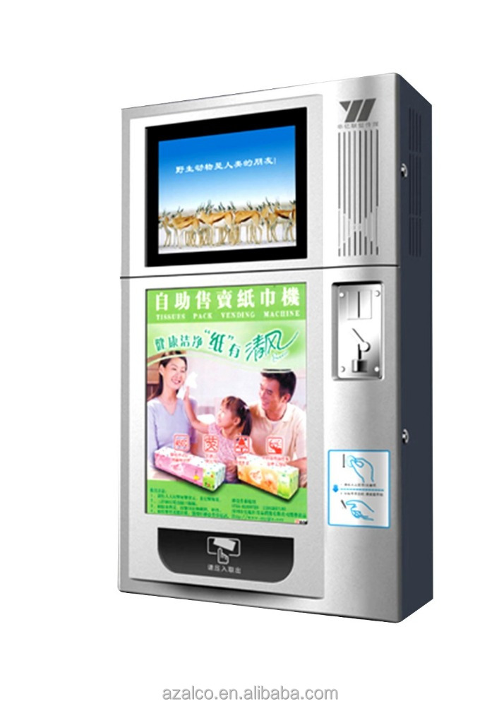 Tissue vending machine with metal frame, welded construction, face are die-cast-plastic