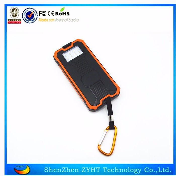 Solar power charger in 8000mah with dual usb output