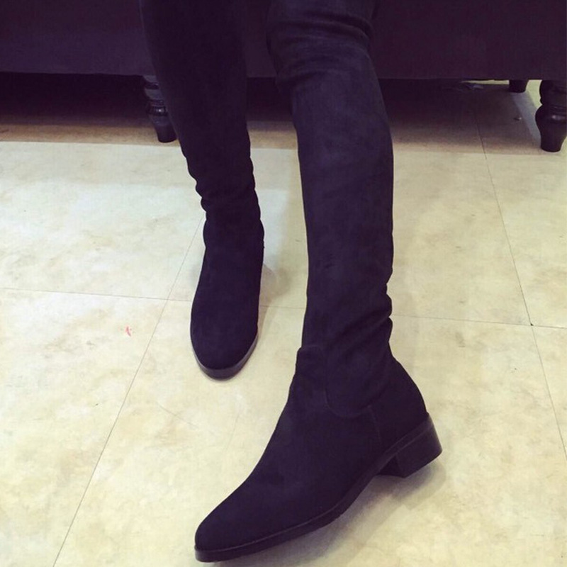SIZE35-42 ,genuine black leather sey ladies thigh high over knee high boots sey women winter thigh high platform shoes 2015
