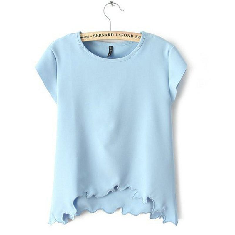 Buy Fashion Women Chiffon Blouse 2015 Summer O Neck Short Sleeve