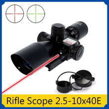 Shockproof Waterproof night vision optic Rifle Scope 2.5-10x40E Red&Green Laser Mil-dot Reticle w/ Rail Mount