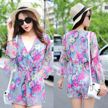 C21619B Young Girls Summer White Liner Chiffon Floral Printed V Neck Jumpsuits