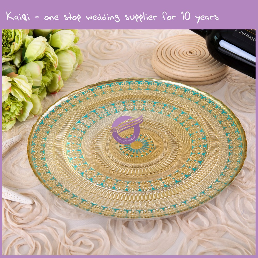 PZ29000 gold cheap popular floral glass charger plates wholesale