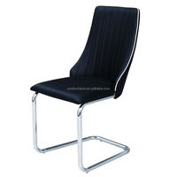 Fashionable Design Home Use Chrome Feets Black PU Cover Dining Chairs