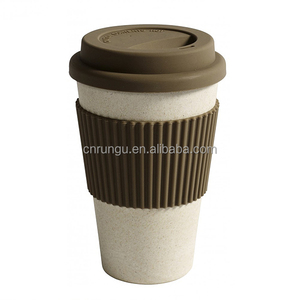 Food Grade Reusable Bamboo Fiber Coffee Cup with Rubber Lid