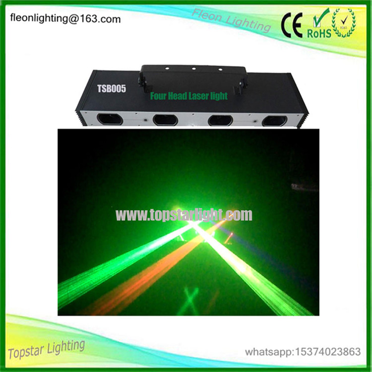RGB or RGBY or RGB+UV color laser pointer Four Head professional dj laser lights