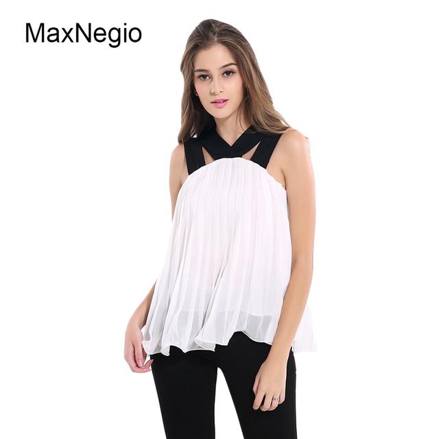 Maxnegio 2018 White Summer Tops Lace Chiffon Womens Blouses