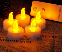 Yellow Flickering LED Tea Lights Battery Operated Tea Lights Candles With Remote Control