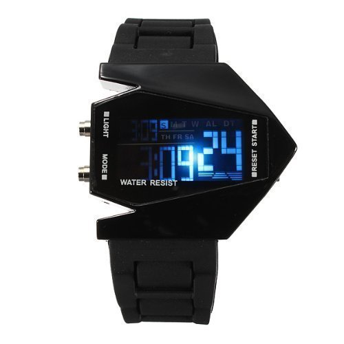 Elegant Plane Style Digital Display LED Silicone Wrist Watch Unisex Silicone Strap Led Display Watch Free Shipping