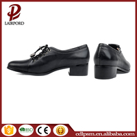 Black genuine leather chunky heel safety and comfortable Citi trends High Heel s0hoes for women