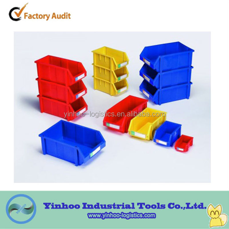 promotional stackable plastic storage bins open front for secure storage of small parts
