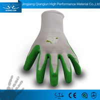 QL 13G polyester Green latex coating colored gardening gloves