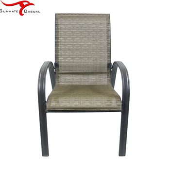 Restaurant Terrace Furniture Outdoor Dining Chair Stackable Sling Chair Textilener Fabric Patio Chairs