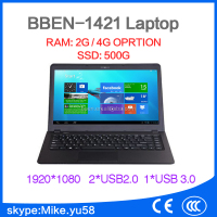 14.1 inch cheap ultra slim laptop N2840 2G RAM 320G HDD,14 inch office laptop