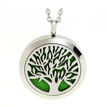 Aroma Perfume Locket Essential Oil Diffuser Jewelry 316L Stainless Steel Aromatherapy Tree Of Life Diffuser Necklace Pendant