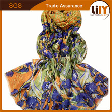 Long Fashion Flower Print Scarf Women Winter