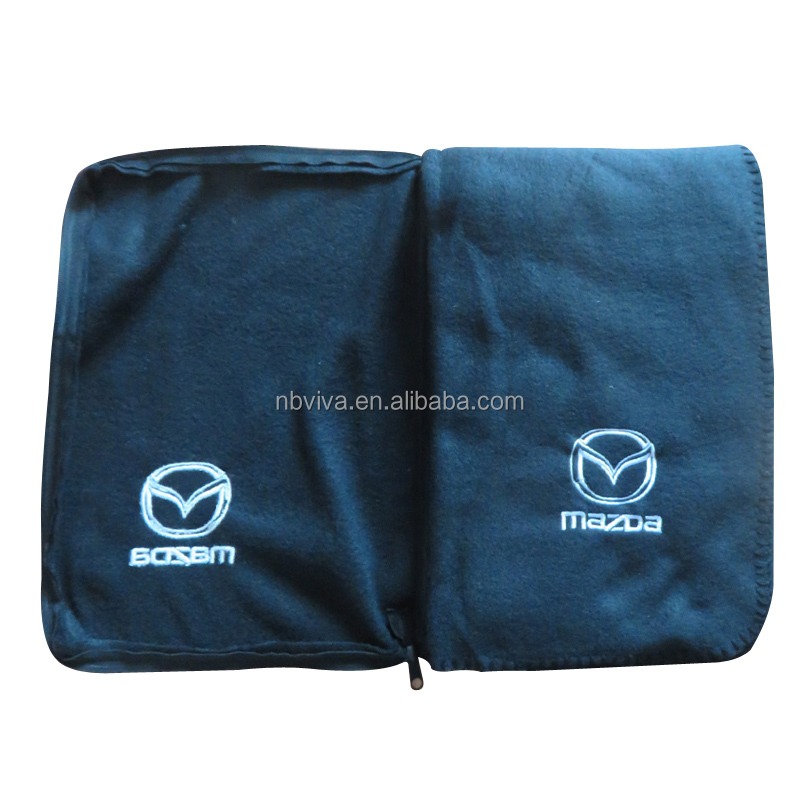 custom plush embroidered heavy throw blanket for car brand promotion