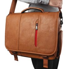Durable big PU leather cossbody shoulder messenger office briefcase laptop bags for men
