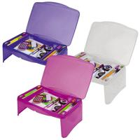 High quality fashion design adults and kids plastic folding storage lap desk