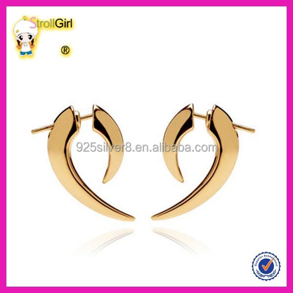 925 sterling silver new model gold plated stud earrings wholesale crescent moon earring