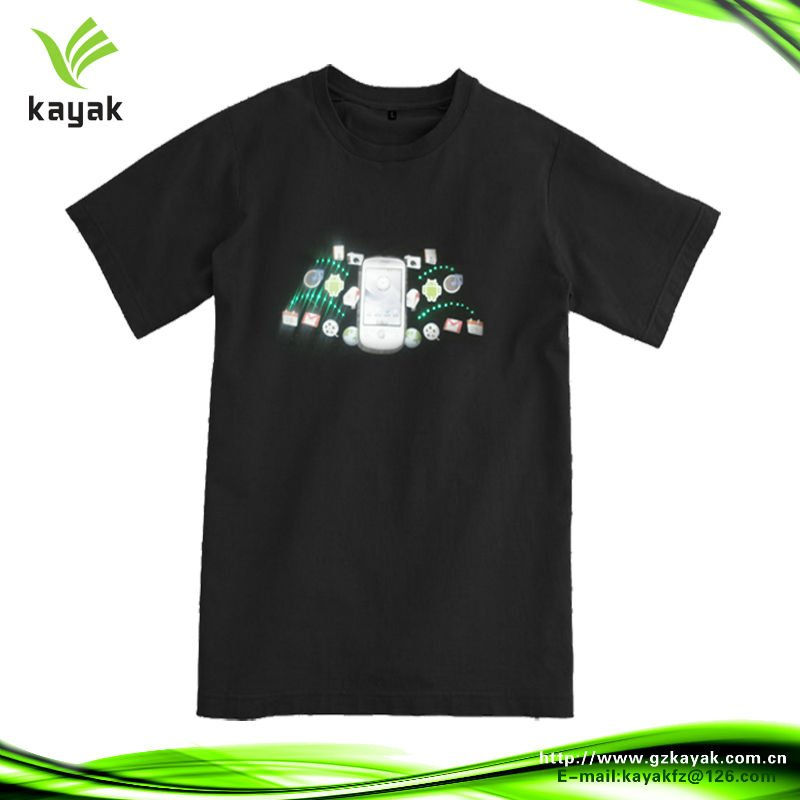 Promotional custom black el led t-shirt