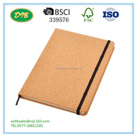 Lined paper Book cover in Cork and lateral Elastic Band closure /school notebook paper price
