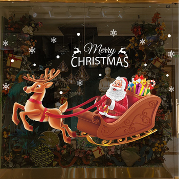 Merry Christmas Decal Deer Elk Santa Claus Festival Decor Happy Holidays Home Window Removable Vinyl Wall Stickers