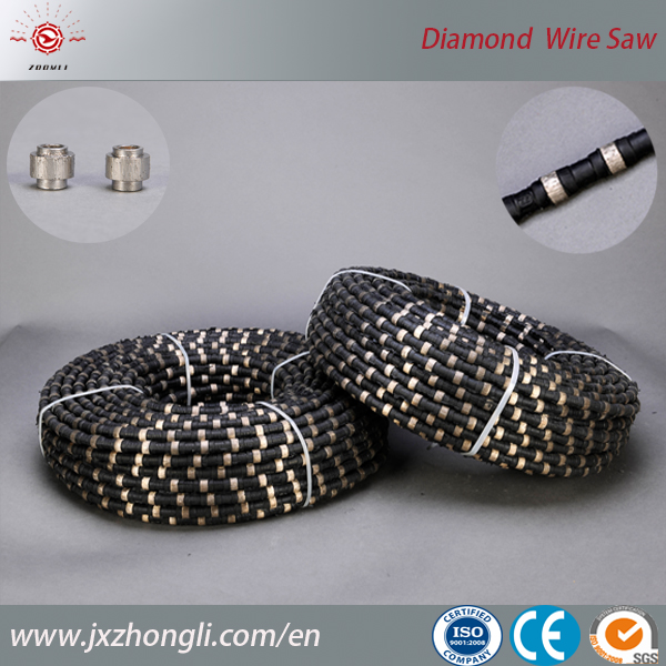 Rubber Spring Coating Diamond abrasive Wire Saw For Granite Stone Quarrying With Sintered Beads