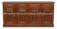 Classic 4 Carved Door 4 Drawer Buffet