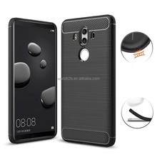 Soft Luxury Brushed TPU Case with Texture Carbon Fiber Design Protective Cover for Huawei Mate 10 Pro