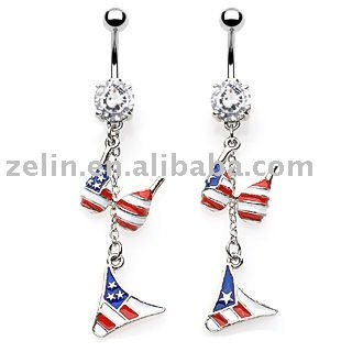 American Flag Bra and brief fashion piercing belly jewelry navel body ring