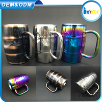 German metal double wall stainless steel beer mug