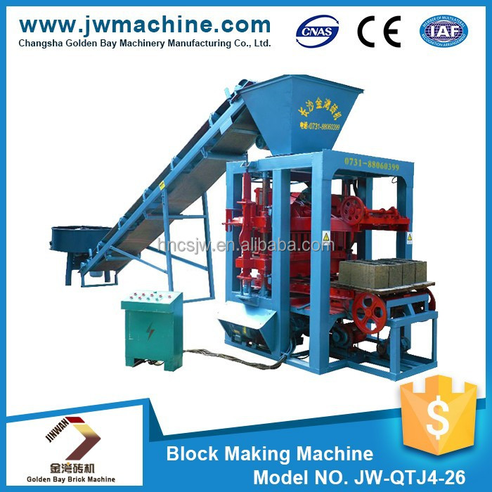 JW-QTJ4-26 machinery for concrete blocks, advanced technology in small business,semy automatic block making machine