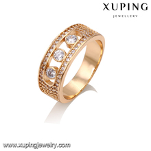 14295 Xuping luxury imitation jewelry noble round 18k gold plated wedding finger ring designs with Synthetic CZ diamond