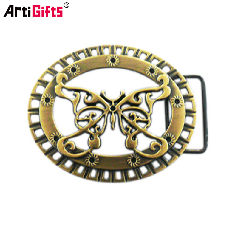 Customized die casting cheap antique brass butterfly logo belt buckle