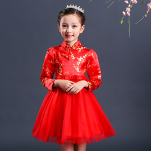 New Fashion Girls Kids Wear Chinese New year Tutu Kids Party Fashion Dresses For 2-8 Years Girl