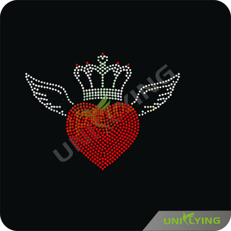 Queen Crowns Transfer Motif with Heart Rhinestone Iron on for Clothes