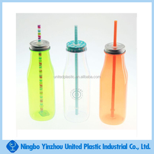 16oz plastic milk bottles with screw lids and straw in transparent color