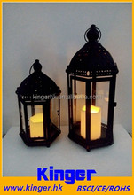 Black Morrocan Antique Lantern - Decorative Lantern with LED Flameless Pillar Candle