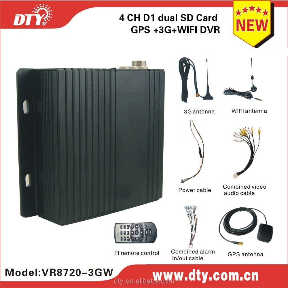 4ch sd card mobile dvr H.264 CCTV DVR with GPS WIFI support OCX client monitoring