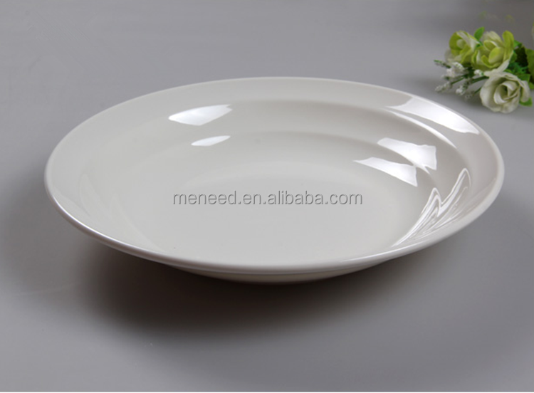 USA market new design ceramic like plain white deep melamine plastic deep dish dinner plates