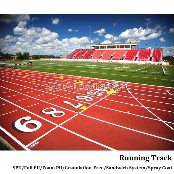 School & stadium athletic sport PU running track synthetic racetrack surface flooring
