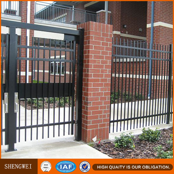 Shengwei fence - Powder coated hot dipped galvanized black spear point cheap metal qingdao fence supplier