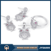 2016 Alibaba wholesale charming owl shape and AAA zircon stone fashion 925 sterling silver jewelry set