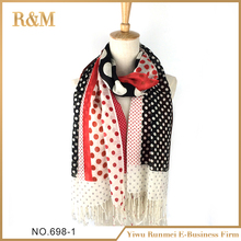 High quality acrylic dot printed wonderful woven print scarf