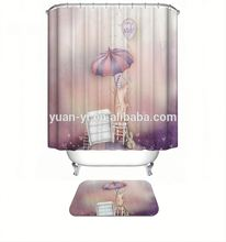 polyester printing shower curtain with matching window curtain